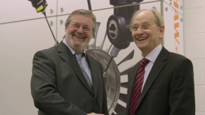 John Deer (left) and Sir David McMurtry founded Renishaw together and hae turned it into a £billion business based on physics, engineering and innovation.