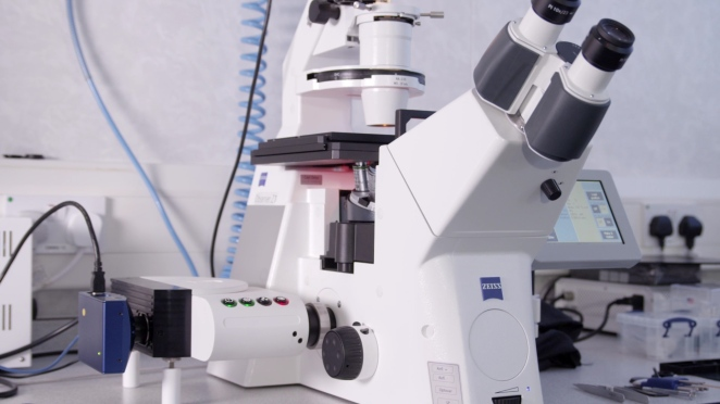 Aurox 3D microscopy attachment connected to Zeiss optical microscope