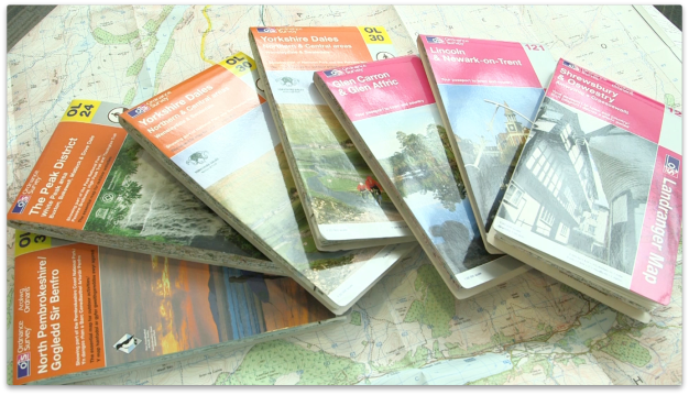 Pink and orange walking maps are a familiar use of Ordnance Survey data.