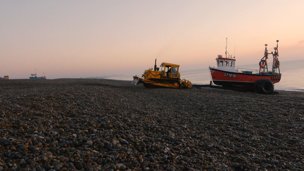Fishing boat at Aldeburgh Beach, Suffolk, UK.