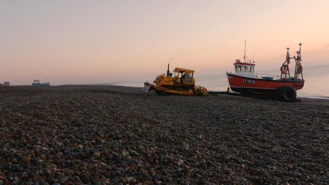 Fishing boat at Aldeburgh Beach, Suffolk, UK.
